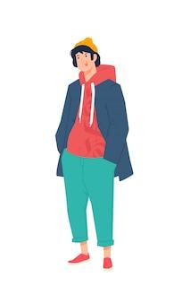 Иллюстрация молодого человека в куртке и толстовке.