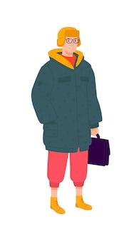 Иллюстрация молодого человека в зимней одежде.