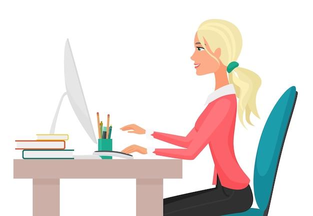 Иллюстрация молодой довольно сексуальной женщины, работающей на настольном компьютере