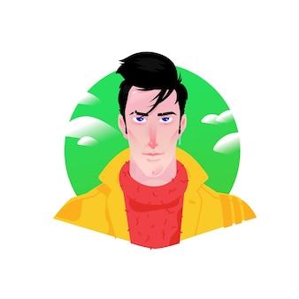 広告とデザインのための若いスタイリッシュな男の漫画の美しいキャラクターのイラスト