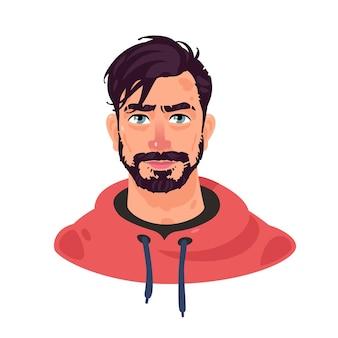 若いスタイリッシュな男のイラスト。漫画のハンサムなひげを生やした男。流行に敏感なプロフィールのアバター。