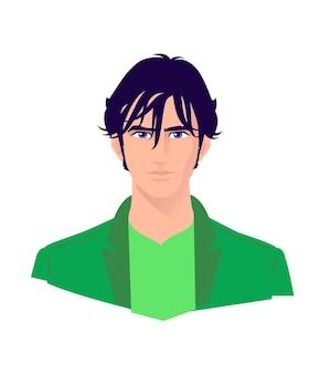 若いスタイリッシュな男のイラスト。ベクター。広告とデザインのための大人の男の漫画のキャラクター。