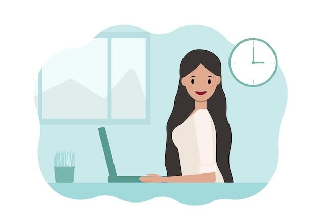 Иллюстрация молодой женщины, работающей на ноутбуке.