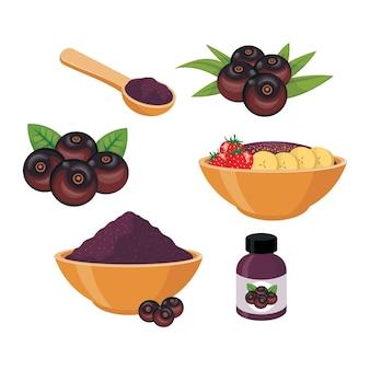 Иллюстрация ягоды асаи и смузи в миске