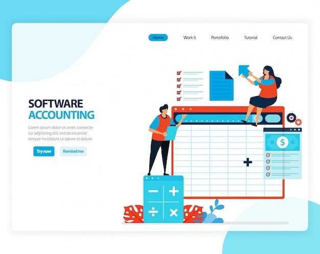 Иллюстрация бухгалтерского программного обеспечения. электронные таблицы для удобного расчета бухгалтерского баланса. плоский мультфильм