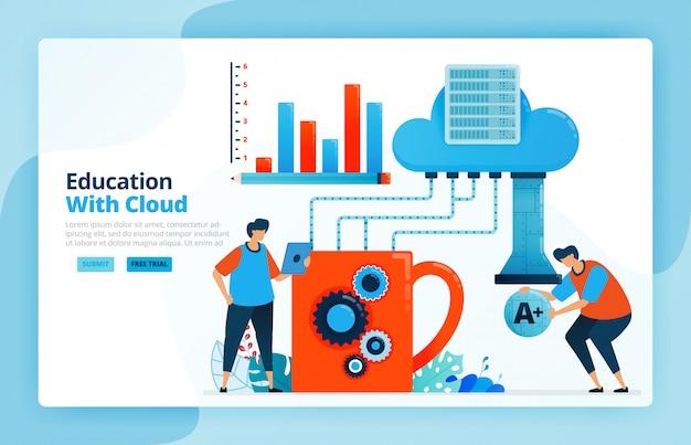 클라우드 컴퓨팅 시스템을 사용한 학습 활동의 삽화.