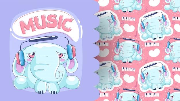 패턴 배경으로 사랑스러운 아기 코끼리의 그림