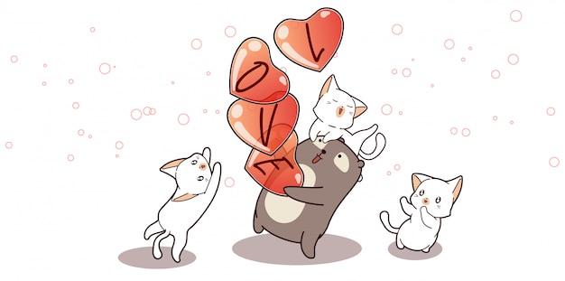 Иллюстрация очаровательный медведь несет сердца