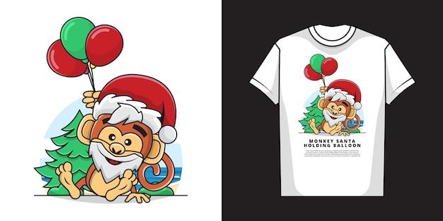 Tシャツデザインの風船を保持している愛らしい猿のイラスト