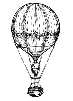 빈티지 새겨진 스타일의 aerostat의 그림입니다. 열기구. 흰색 배경에 aerostat의 잉크 스케치입니다. 손으로 그린 그림입니다. 레트로 스타일.