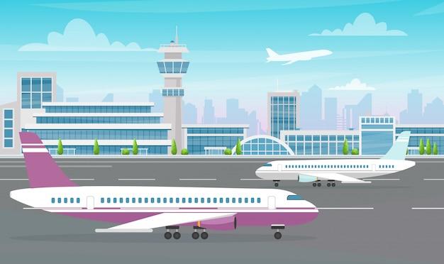 大きな飛行機と近代的な都市の背景に離陸する航空機の空港ターミナルビルのイラスト。フラットな漫画のスタイル。
