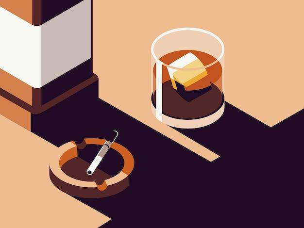 Иллюстрация стеклянной бутылки алкогольного напитка с пепельницей и чашкой
