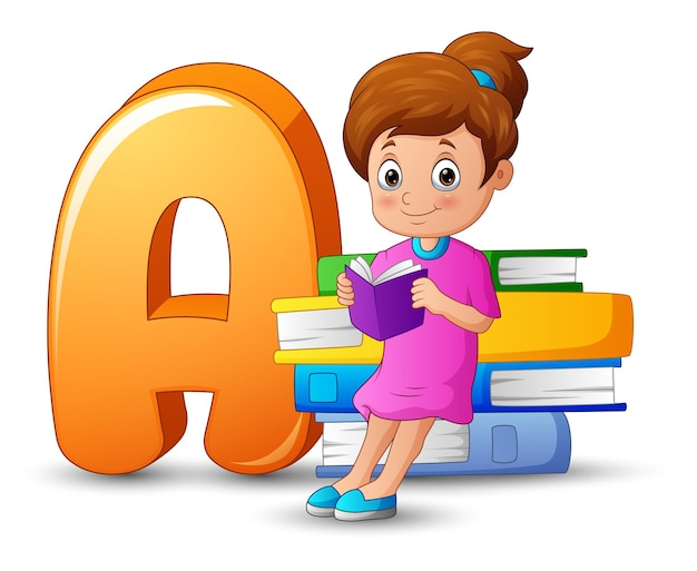 本の山に寄りかかって女の子とアルファベットaのイラスト