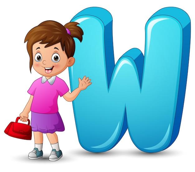 手を振っている美しい少女とアルファベットwのイラスト