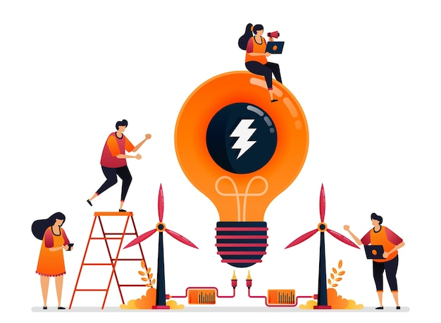 電気の創造性のための代替エネルギーと持続可能な自然の力のイラスト。