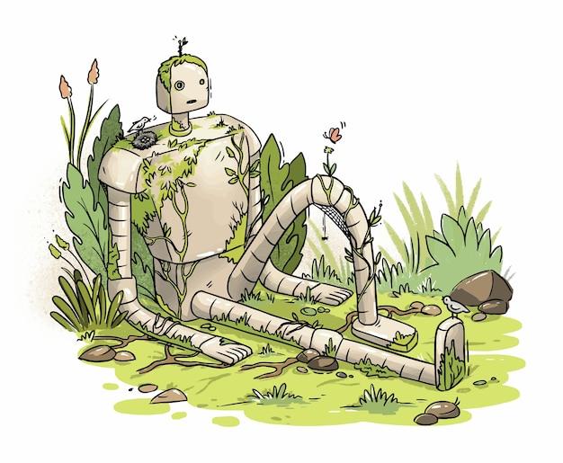 草の上に捨てられた草に覆われたロボットのイラスト