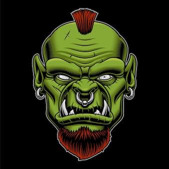 暗い背景に怒っているオークのイラスト。戦士のマスコット。