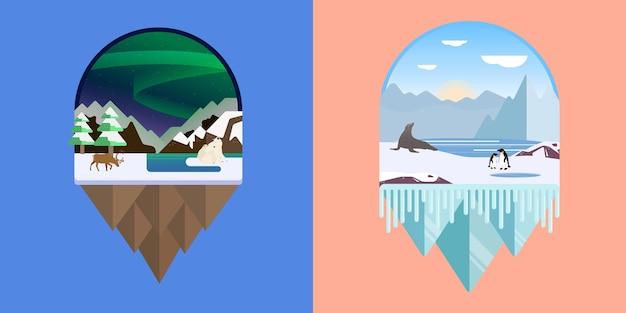 南極と北極の風景のイラスト