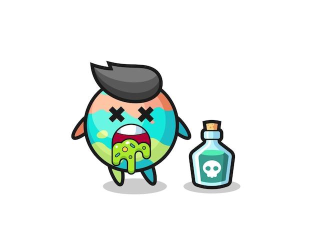 Иллюстрация персонажа с бомбой для ванны, рвущего из-за отравления, симпатичный дизайн футболки, наклейки, элемента логотипа