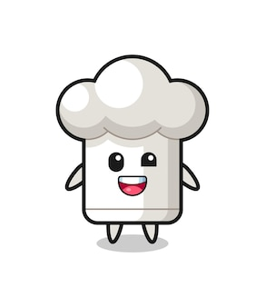 ぎこちないポーズのシェフの帽子のキャラクターのイラスト、tシャツ、ステッカー、ロゴ要素のかわいいスタイルのデザイン