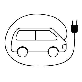 전기 자동차 충전소의 그림입니다. 라인 아이콘