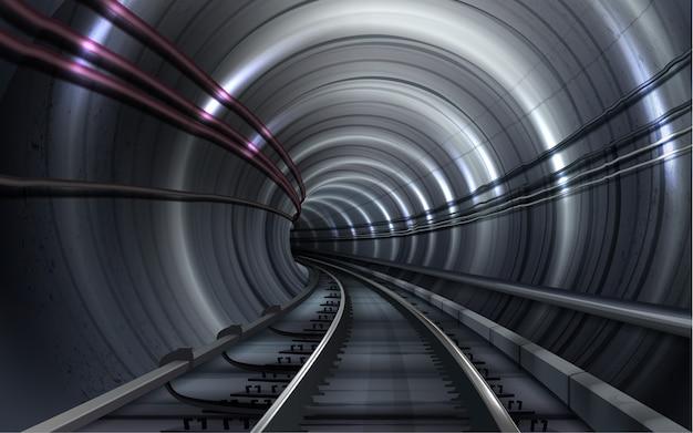 Иллюстрация пустого тоннеля метро с железнодорожными путями и освещением