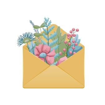 植物標本の葉と花の封筒のイラスト。