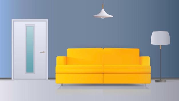 인테리어의 그림입니다. 노란색 소파, 흰색 문, 흰색 갓이있는 플로어 램프, 흰색 천장 램프. 현실적인 인테리어.