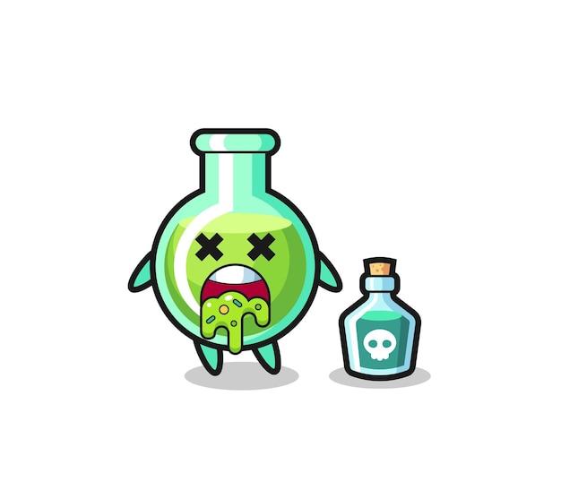 Иллюстрация рвоты персонажа из лабораторных стаканов из-за отравления, симпатичный дизайн футболки, наклейки, элемента логотипа