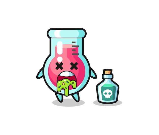 Иллюстрация рвоты персонажа из лабораторного стакана из-за отравления, симпатичный дизайн футболки, наклейки, элемента логотипа