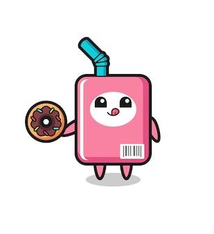 ドーナツを食べるミルクボックスのキャラクターのイラスト、tシャツ、ステッカー、ロゴ要素のかわいいスタイルのデザイン