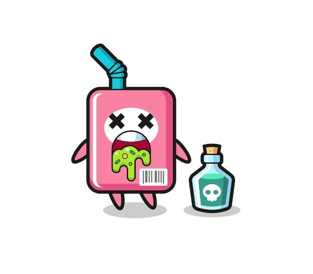 Иллюстрация рвоты персонажа из коробки с молоком из-за отравления, симпатичный дизайн футболки, наклейки, элемента логотипа