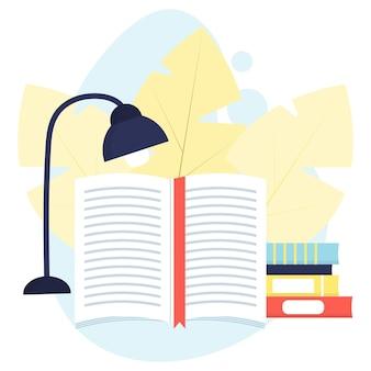 책갈피가 있는 펼친 책의 그림 책 읽기 개념 책 더미