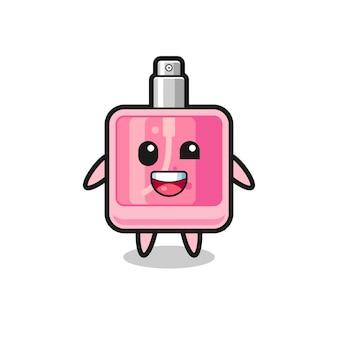 Иллюстрация парфюмерного персонажа в неудобных позах, милый стиль дизайна для футболки, наклейки, элемента логотипа