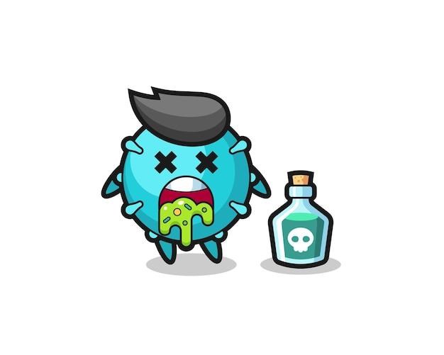 Иллюстрация рвоты вирусного персонажа из-за отравления, симпатичный дизайн футболки, наклейки, элемента логотипа