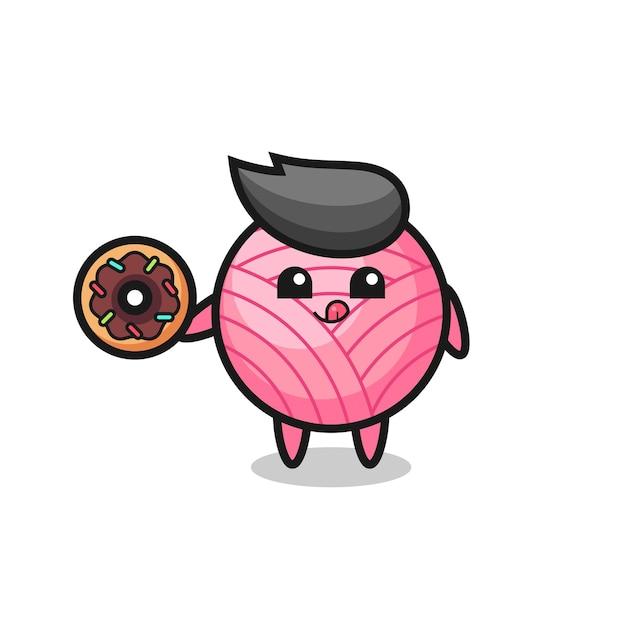 도넛을 먹는 원사 볼 캐릭터의 그림, 티셔츠, 스티커, 로고 요소를 위한 귀여운 스타일 디자인