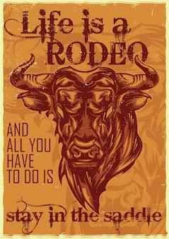 怒っている雄牛のイラスト、人生はロデオです