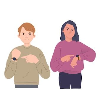 늦은 시계를 가리키는 남성과 여성의 화난 표정의 그림