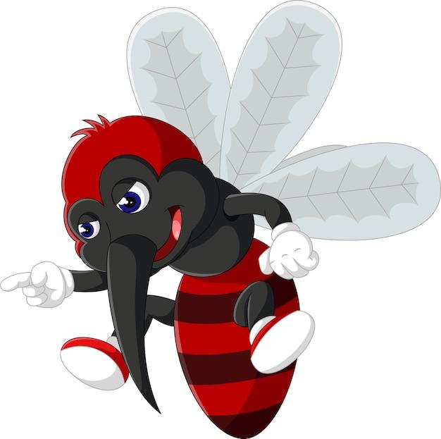 怒っている蚊の漫画のイラスト