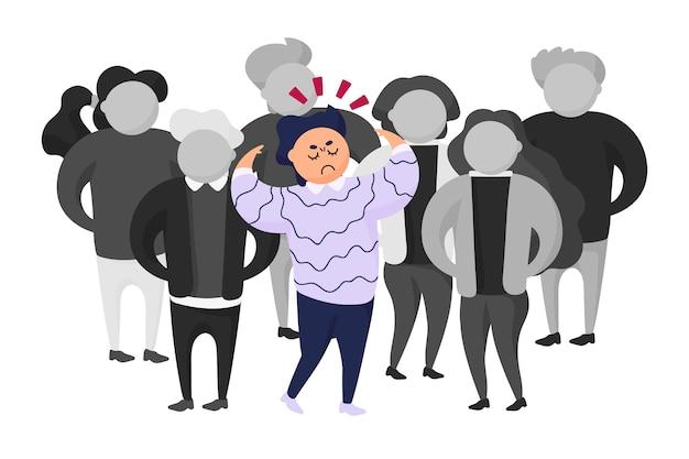 群衆の中に怒っている人のイラスト