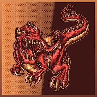 白い背景の上の巨大な口を開けて怒っているティラノサウルスレックスのイラスト。マスコットスポーツロゴの手描きイラスト