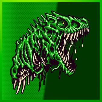 緑の背景に大きな口を開いて鋭い歯を持つ怒っているゾンビグリーンラプターのイラスト。マスコットスポーツロゴの手描きイラスト
