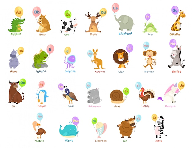 동물 알파벳 문자 az의 그림