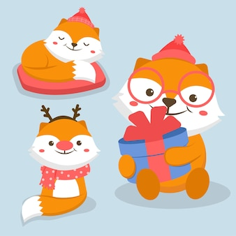 ギフトボックスと動物キャラクターキツネのイラスト