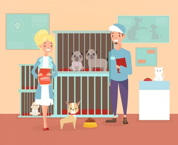 개와 고양이와 자원 봉사자 캐릭터와 동물 보호소의 그림. 대피소, 애완 동물 개념을 채택하십시오. 만화 플랫 스타일의 수의사와 함께 쉼터에서 행복 애완 동물.