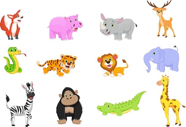 동물 만화 세트의 그림