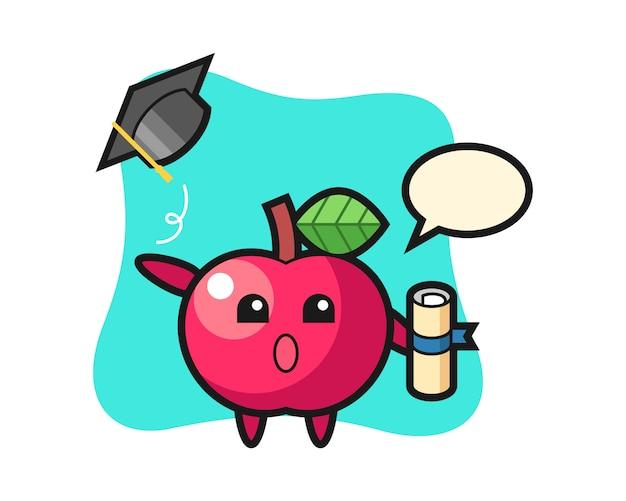 卒業式で帽子を投げるアップル漫画のイラスト