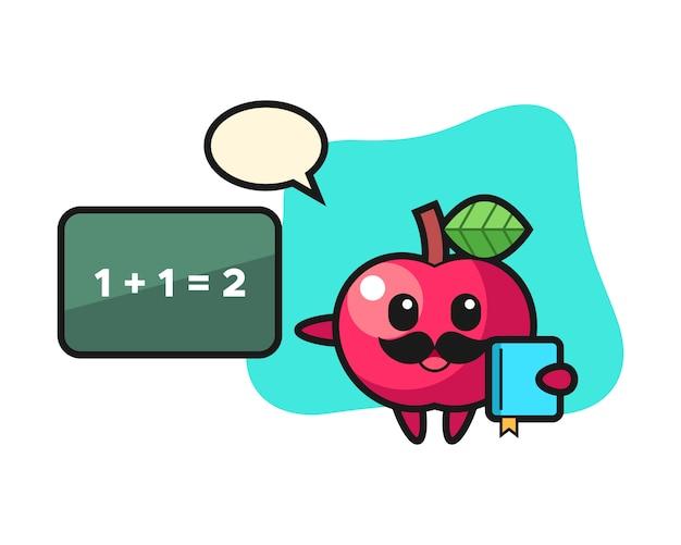 教師としてのアップルキャラクターのイラスト