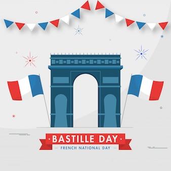 フランス革命記念日、フランス革命記念日のための灰色の背景に波状フランスフラグと凱旋門記念碑のイラスト。