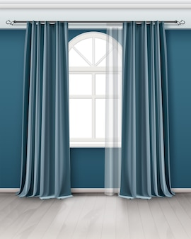 部屋のロッドにぶら下がっている長いペアのティールブルーのカーテンとアーチ窓のイラスト